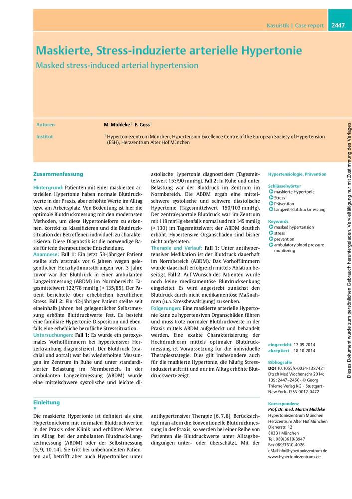 Maskierte, Stress-induzierte arterielle Hypertonie