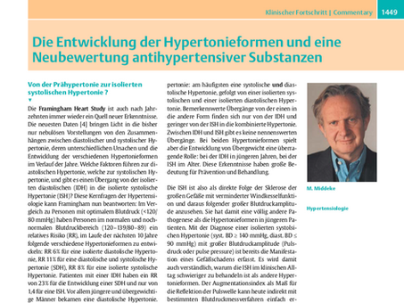 Die Entwicklung der Hypertonieformen und eine Neubewertung antihypertensiver Substanze