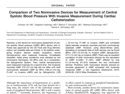 7. Comparison of two noninvasive devices for measurement of central systolic blood pressure