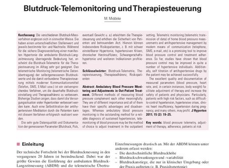 Blutdruck-Telemonitoring und Therapiesteuerung