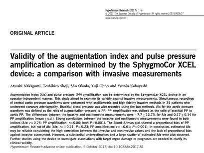 36. Validity of the augmentation index and pulse pressure amplification as determined