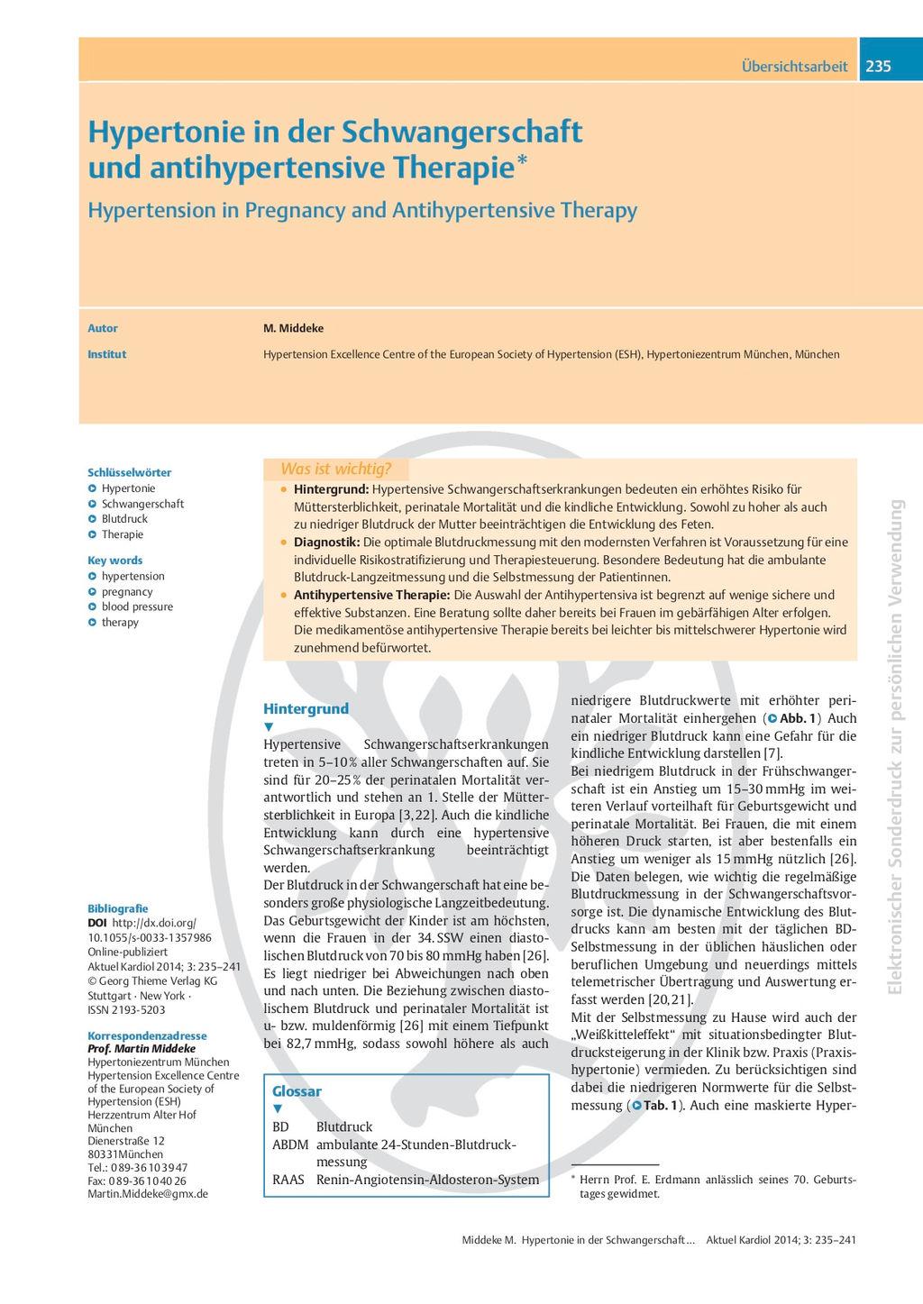 Hypertonie-Therapie