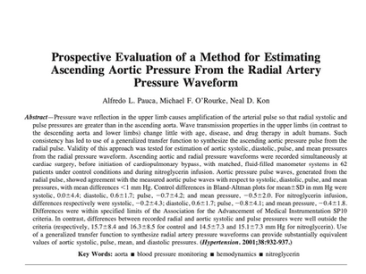 29. Prospective evaluation of a method for estimating ascending aortic pressure