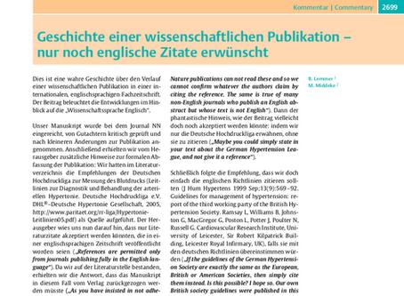 Geschichte einer wissenschaftlichen Publikation