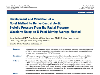 8. Development and validation of a novel method to derive central aortic systolic pressure