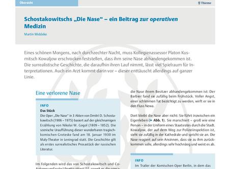 """Schostakowitschs """"Die Nase"""" - ein Beitrag zur operativen Medizin"""