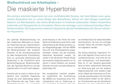 Bluthochdruck am Arbeitsplatz - Die maskierte Hypertonie
