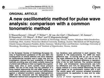 18. A new oscillometric method for pulse wave analysis: comparison with a common tonometric method.