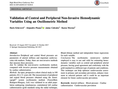 3.  Validation of Central and Peripheral Non-Invasive Hemodynamic Variables