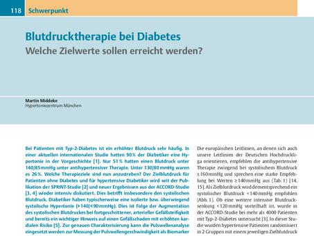 Blutdrucktherapie bei Diabetes