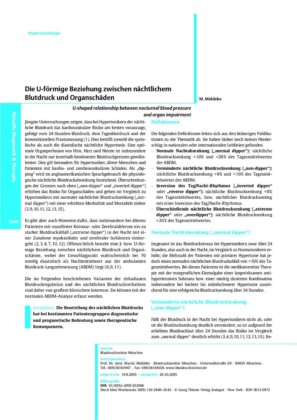 Die U-förmige Beziehung zwischen nächtlichem Blutdruck und Organschäden