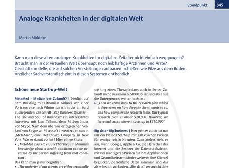 Analoge Krankheiten in der digitalen Welt