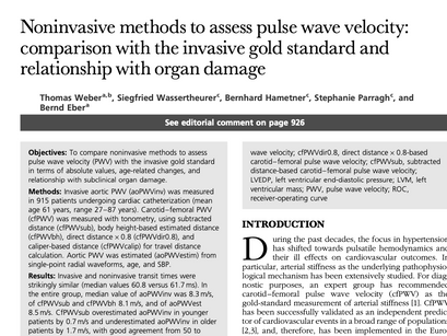 31. Noninvasive methods to assess pulse wave velocity: comparison with the invasive gold standard