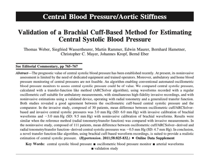 22. Validation of a Brachial Cuff-Based Method for Estimating Central Systolic Blood Pressure
