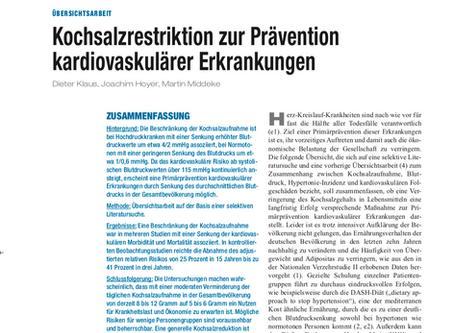 Kochsalzrestriktion zur Prävention kardiovaskulärer Erkrankungen