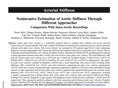 21. Noninvasive Estimation of Aortic Stiffness Through Different Approaches.