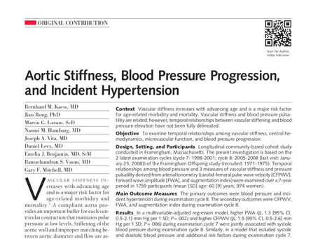 Aortic stiffness, blood pressure progression, and incident hypertension.