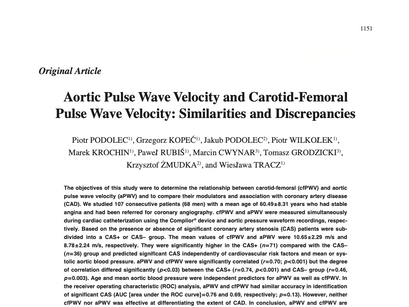 12.Aortic pulse wave velocity and carotid-femoral pulse wave velocity:similarities and discrepancies