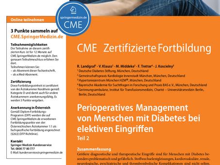 Perioperatives Management von Menschen mit Diabetes bei elektiven Eingriffen Teil 2