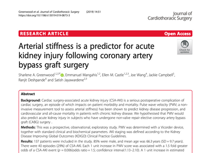 39. Arterial stiffness is a predictor for acute kidney injury following coronary artery