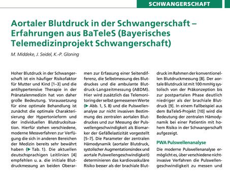 Aortaler Blutdruck in der Schwangerschaft – Erfahrungen aus BaTeleS (Bayerisches Telemedizinprojekt)