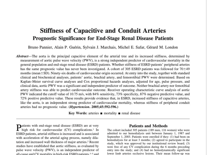 25. Stiffness of capacitive and conduit arteries: prognostic significance