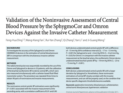 30. Validation of the noninvasive assessment of central blood pressure by the SphygmoCor and Omron