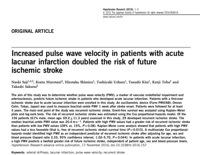 24. Increased pulse wave velocity in patients with acutelacunar infarction