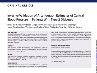 4. Invasive validation of arteriograph estimates of central blood pressure in patients