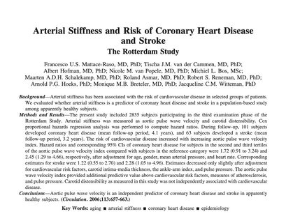 17. Arterial Stiffness and Risk of Coronary Heart Disease and Stroke: the Rotterdam Study.