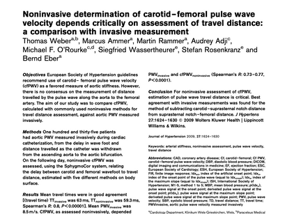 32. Noninvasive determination of carotid–femoral pulse wavevelocity depends critically