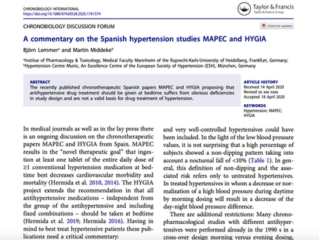 A commentary on the Spanish hypertension studies MAPEC and HYGIA