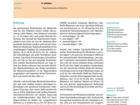 Blutdruckvariabilität: Diagnostik, prognostische Bedeutung und therapeutische Konsequenzen