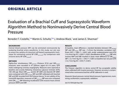 11. Evaluation of a brachial cuff and suprasystolic waveform algorithm method