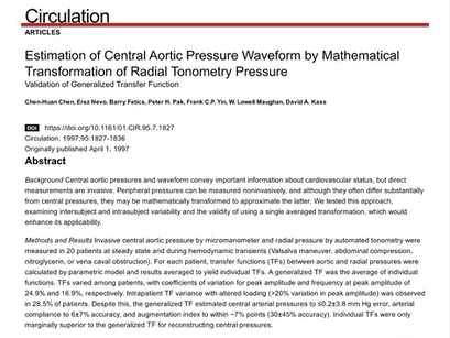 28. Estimation of central aortic pressure waveform by mathematical transformation
