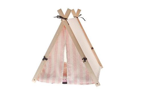 Ferribiella Teepee Roze met wit-roze strepen Groot model