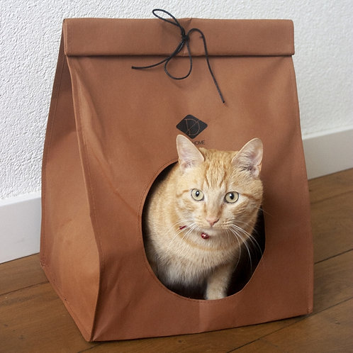 Kattenmand papier look zak Bruin