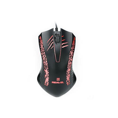Мышь REAL-EL RM-503, black, USB, 2 key, 1 Wheel, 1000cpi, подсветка