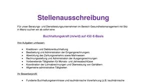 Gesucht: Buchhaltungskraft auf 450 €-Basis