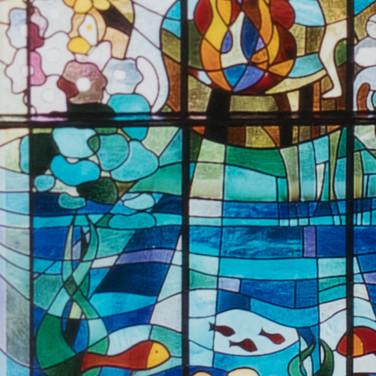 kirchenfenster schöpfung: feuer - wasser - luft