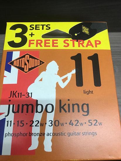 3 sets jumbo kings 11s plus free strap