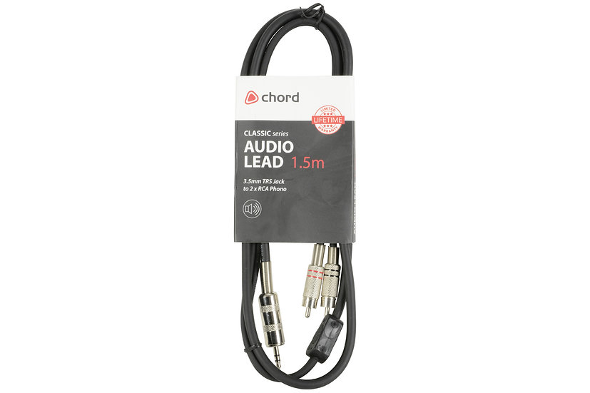 Classic Audio Leads 3.5mm TRS Jack Plug - 2 x RCA Plugs 1.5m