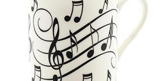 Music Notes Mug - Black On White