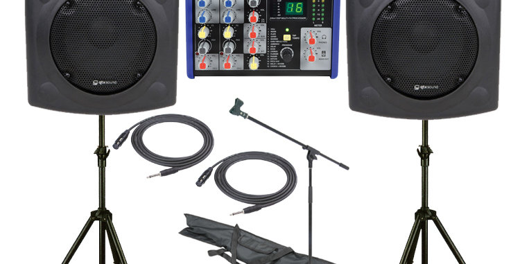 QTX 400W, 3 CHANNEL PA SYSTEM WITH 10″ ACTIVE SPEAKERS AND DIGITAL FX