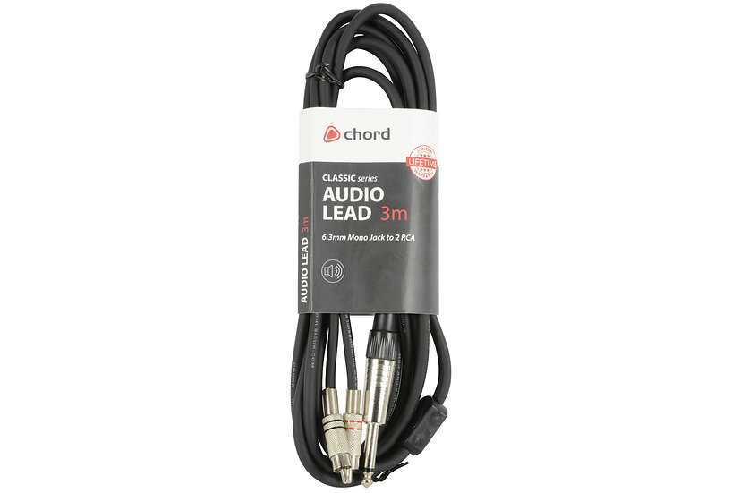 Classic Audio Leads 6.3mm Mono Jack Plug - 2 x RCA Plugs 3m