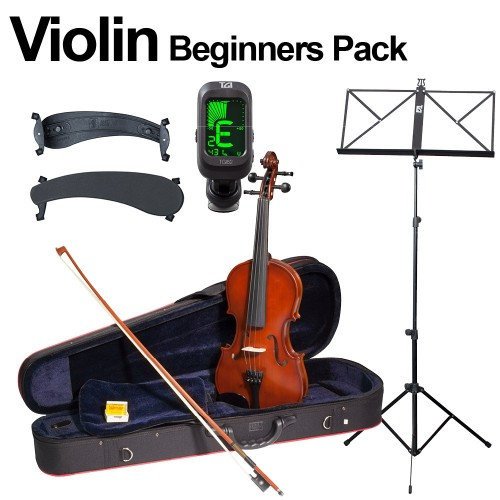 VIOLIN BEGINNERS PACK - INC CASE, BOW, MUSIC STAND AND MORE