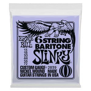 SLINKY 6-STRING W/ SMALL BALL END 29 5/8 SCALE BARITONE GUITAR STRINGS - 13-72 G