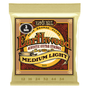 EARTHWOOD MEDIUM LIGHT 80/20 BRONZE ACOUSTIC GUITAR STRINGS 3 PACK - 12-54 GAUGE