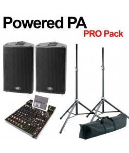 POWERED PA - PROFESSIONAL PACK - CABS, MIXER, K&M STANDS