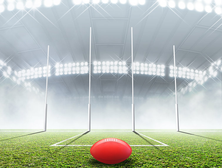 AFL ball and goal posts